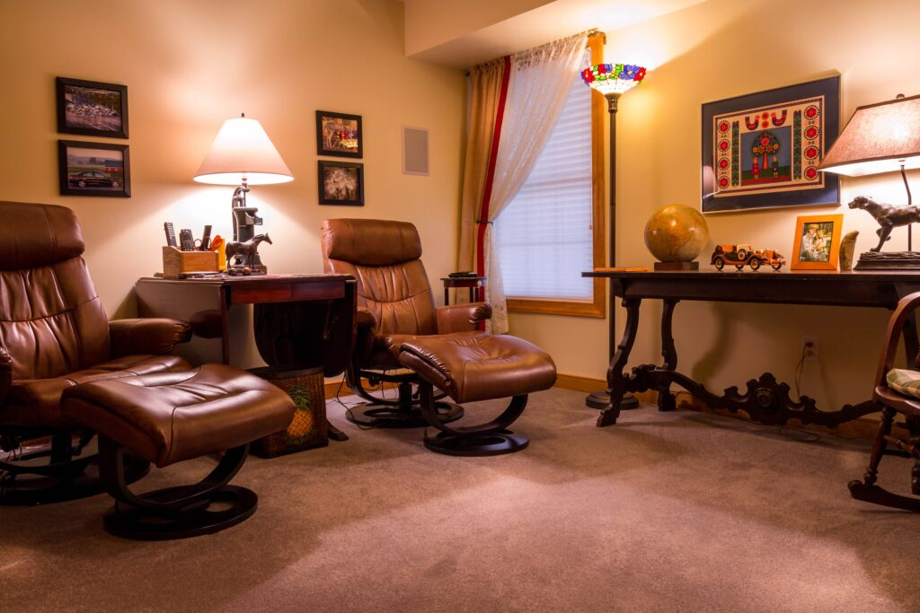 Two leather recliners in a bright room